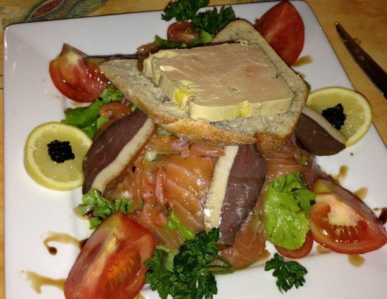 Entree salad with foie gras