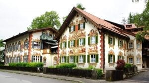 Colorful frescoed house in Oberammergau