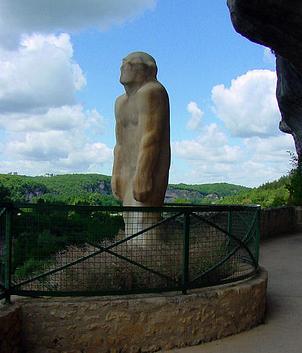 Prehistoric statue in Dordogne, France.