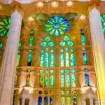 The breath taking interior of Antoni Gaudi 's masterpiece Sagrada Familia Basilica in Barcelona