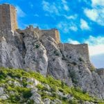 Queribus castle which defended the ancient French border with Spain