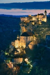 Night view of Rocamadour