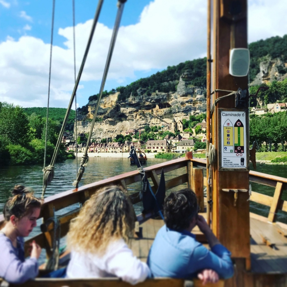 "Taking a ""Cabarre"" boat ride on the Dordogne at La Roque-Gageac"