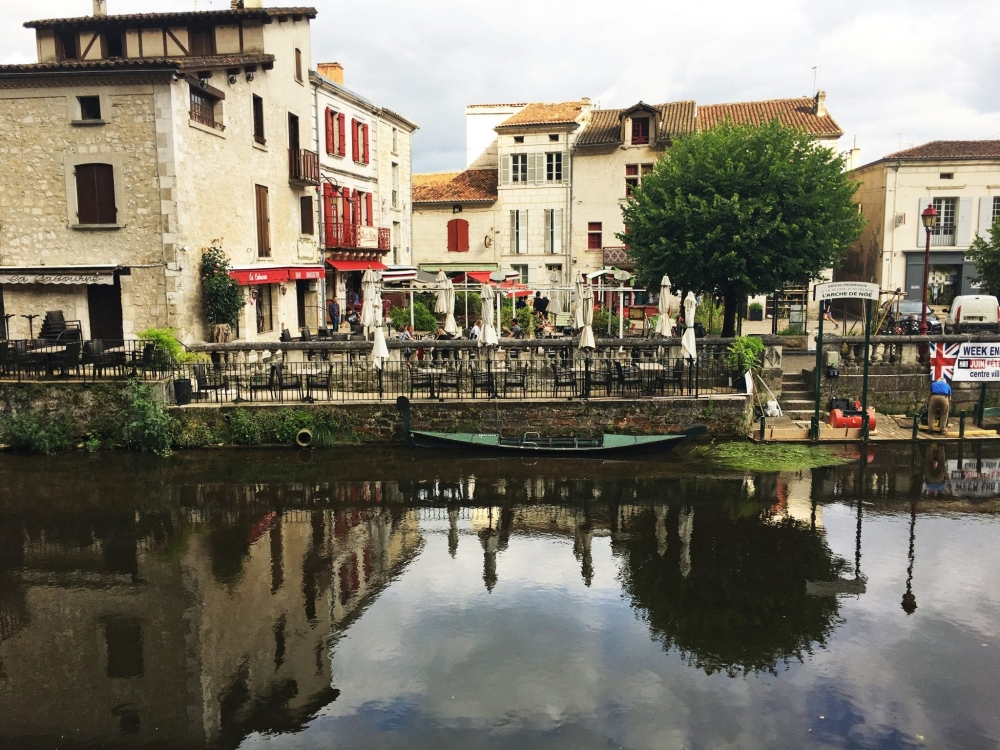 "The beautiful town of Brantome, called ""the Venice of Perigord"" on the Vienne River"