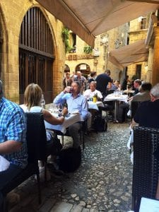 Dining in medieval Sarlat is dreamy